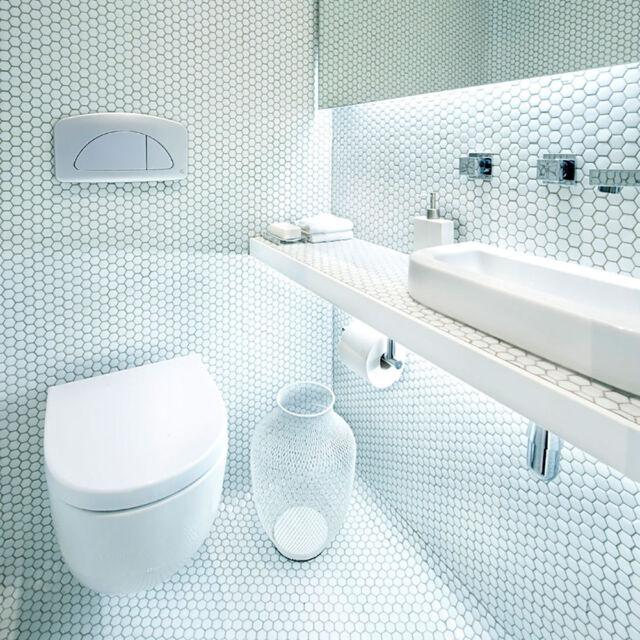 Bijou Gloss White Hexagon Mosaic 335x292x4mm Porcelain Wall Floor