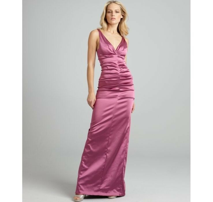 Nicole Miller Raspberry Formal Evening Gown Dress Satin Ruched Size