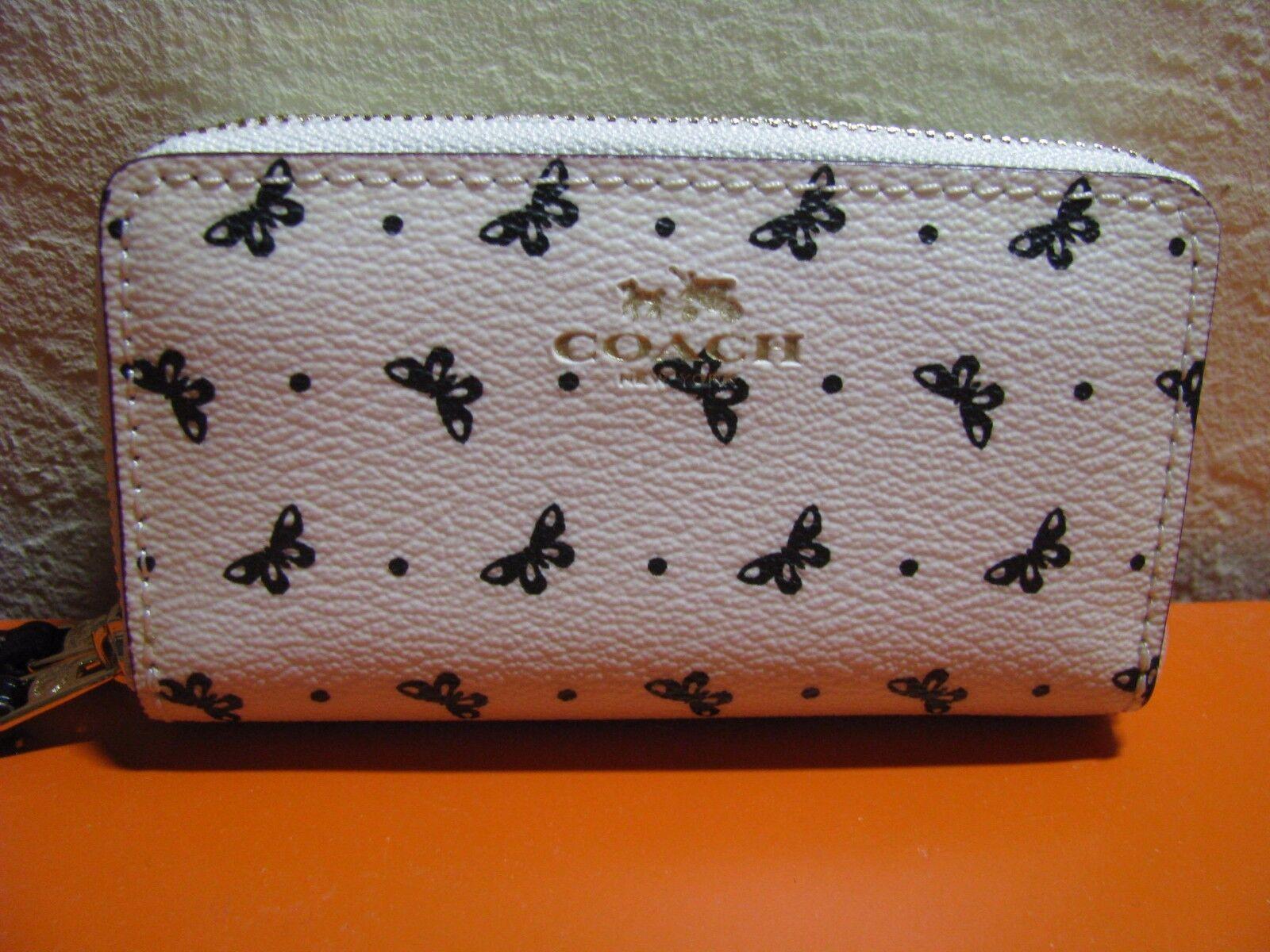 coach butterfly dot print pvc double zip coin card case mini