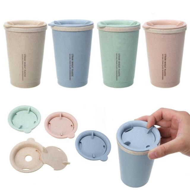 Wheat Coffee Mug Straw Cup Travel Water Bottle Plastic Portable Tea Home Office  sc 1 st  eBay & Wheat Coffee Mug Straw Cup Travel Water Bottle Plastic Portable Tea ...