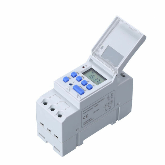 AC 220-240V Digital LCD Power Programmable DIN Timer Time Switch Relay 16A