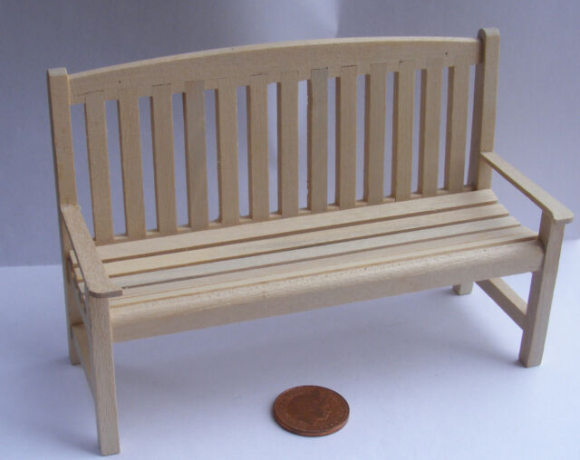 1:12 Scale Natural Finish Wooden Bench Dolls House Garden Furniture  Accessory 44