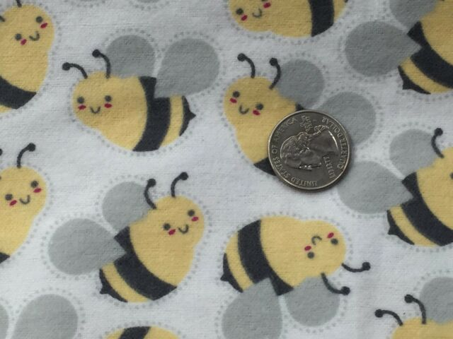Fabric Bumblebees Bees Yellow Gray on off White Flannel 1/4 Yard | eBay