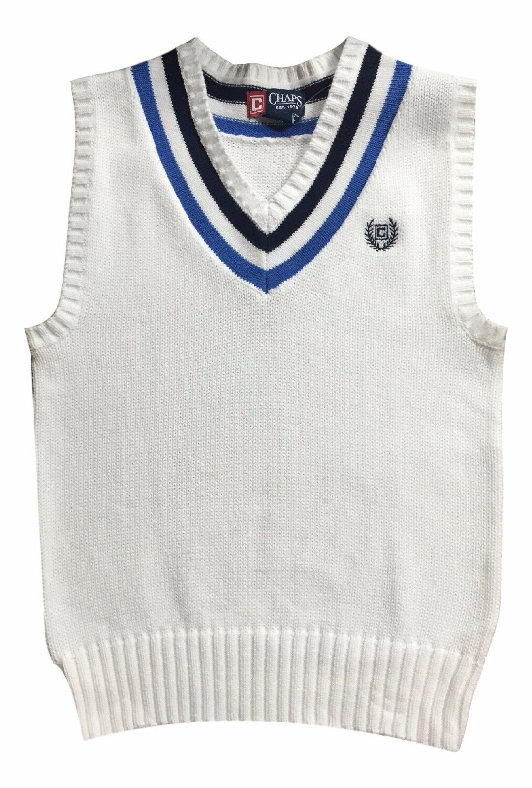 Chaps Boy's 24 Months White V-neck Sweater Vest Cable Knit Top | eBay