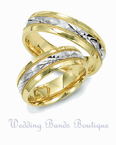 Two Tone 14k White Yellow Gold Matching Wedding Ring Set His Hers Brushed Band