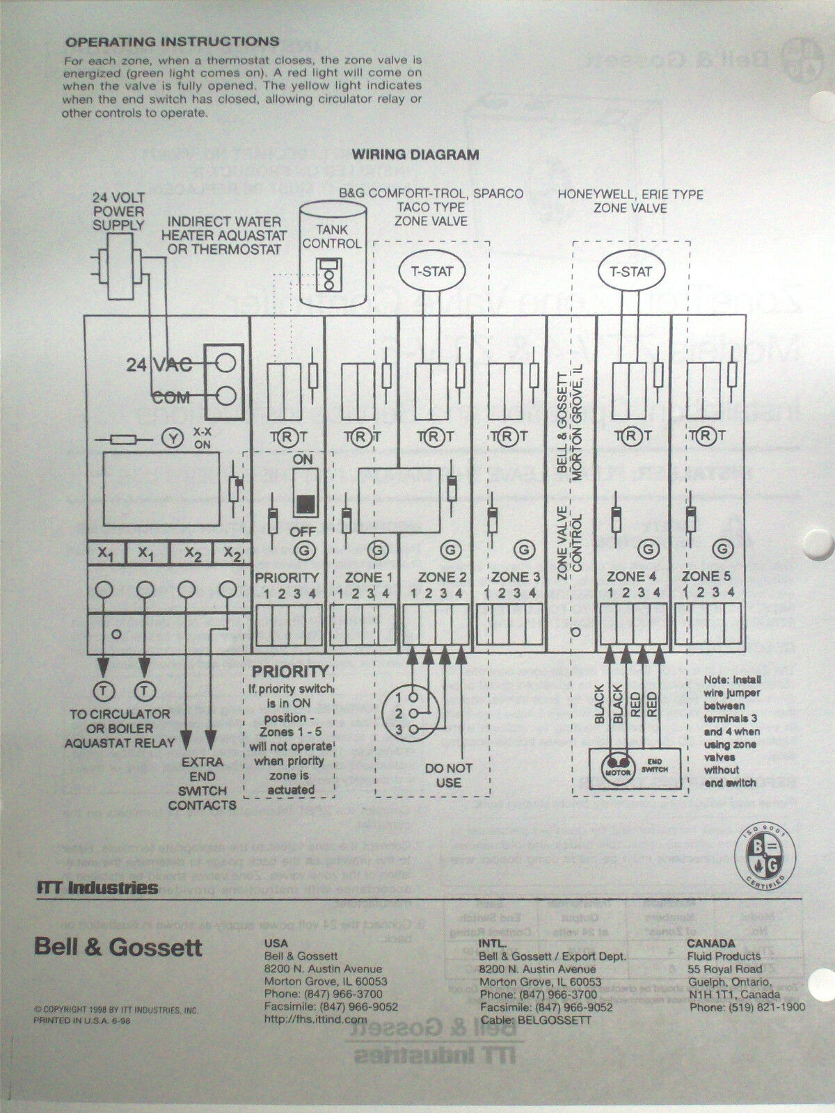 Taco Zone Valve Wiring Diagram Sentinal Circuit And Honeywell Boiler Valves 1 V8043e1012 4 Wire 24v