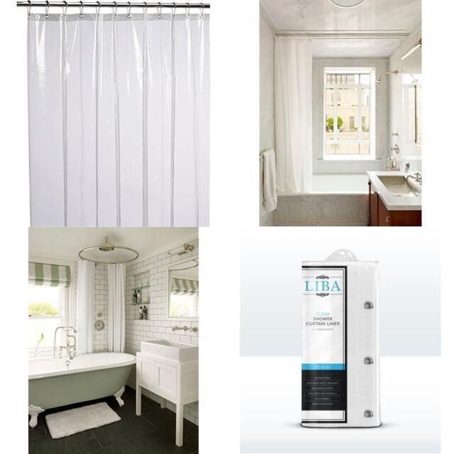 Liba Mildew Resistant Anti Bacterial Peva 8G Shower Curtain Liner 72X72 Clear