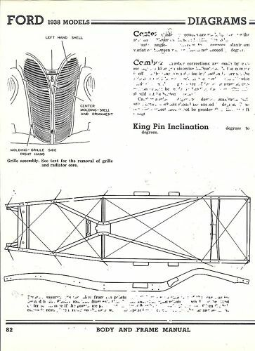 1938 Ford NOS 60 85 HP Frame Dimensions Alignment Specs   eBay