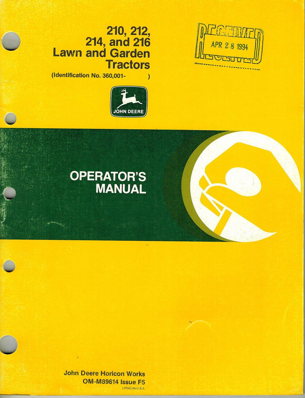 john deere 214 lawn garden tractor operator s manual ebay rh ebay com john deere 212 owners manual john deere 214 service manual