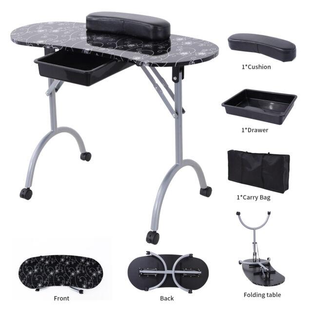 Black Foldable Manicure Nail Table Portable Station Desk Spa Beauty ...