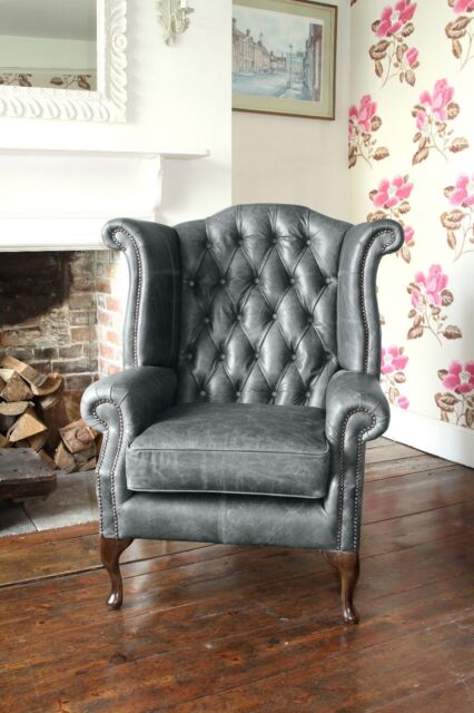 Nice Chesterfield Queen Anne High Back Wing Chair In Vintage Grey Leather