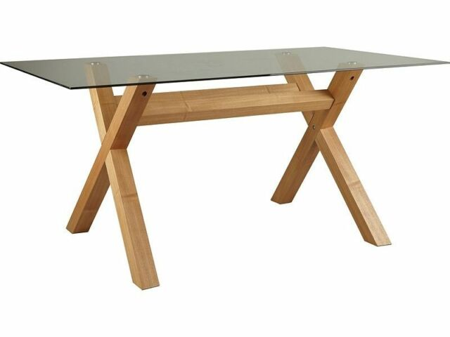 dining table legs. oak cross leg clear glass top hartley 4 or 6 seater dining table bevelled edge legs