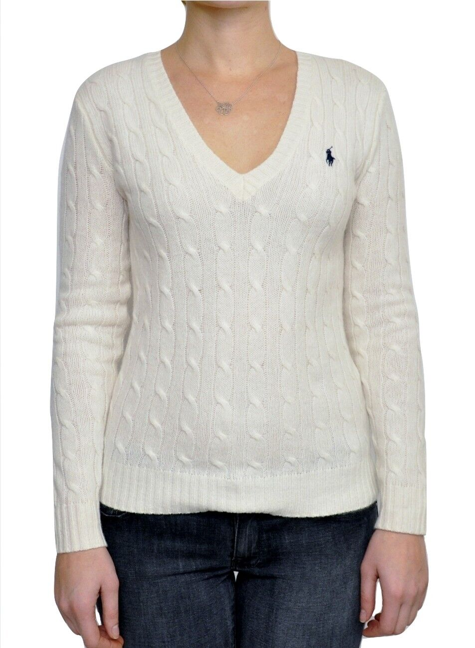 Womens Polo Ralph Lauren Sport Cable Knit Merino Wool Sweater Size ...