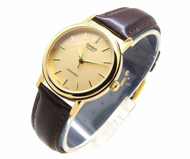 MTP-1095Q-9A Gold Casio Watches Genuine Leather Band Analog Casual Dress Men's