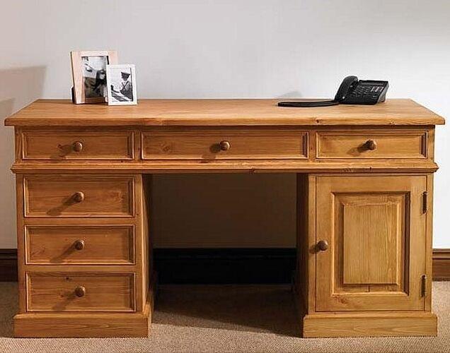 Hampton Waxed Pine Furniture Large Pc Office Computer Desk