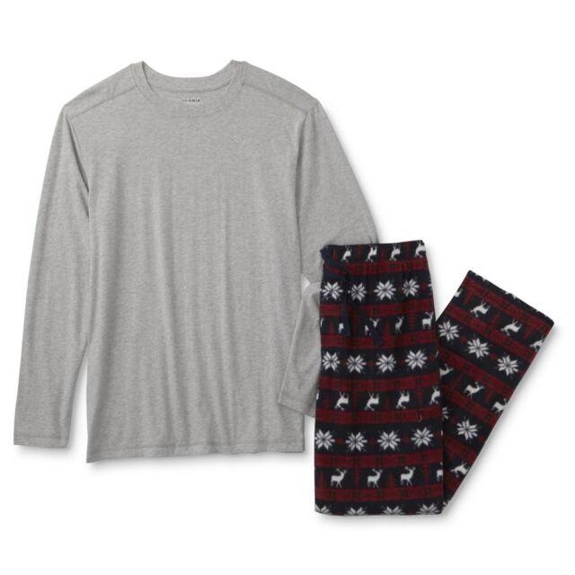 Mens Pajamas Set Size Small-xxl 2x Cotton Shirt Fair Isle Pants ...