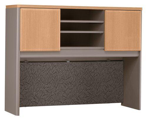 Bush Furniture Series A: 48 Inch Office Desk Hutch In Light Oak   WC64349