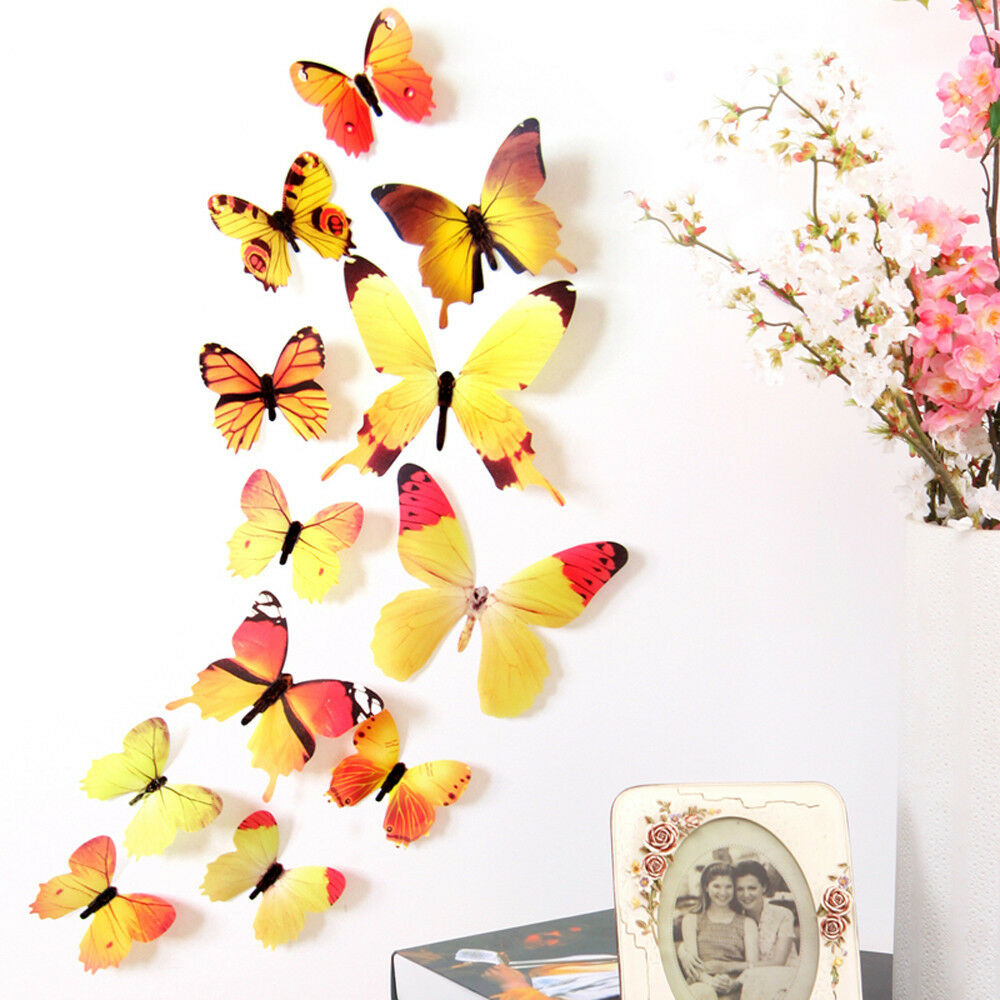 12pcs Wall Stickers Art Design Decal Home DIY 3d Butterfly Decor ...