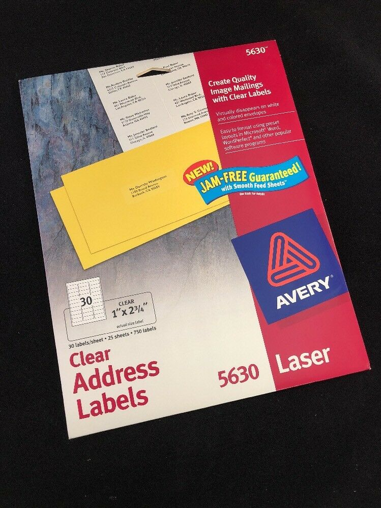 avery easy peel clear 1 x 2 5 8 inch address labels 750 count 5630