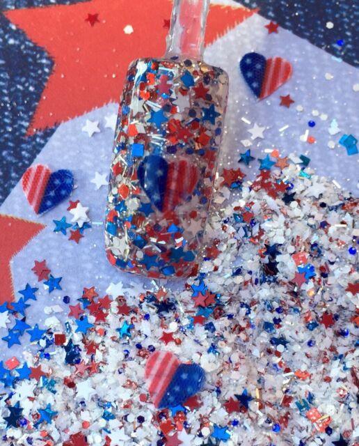 Glitter Mix Nail Art Acrylic GEL 4th Red White & Blue American ...