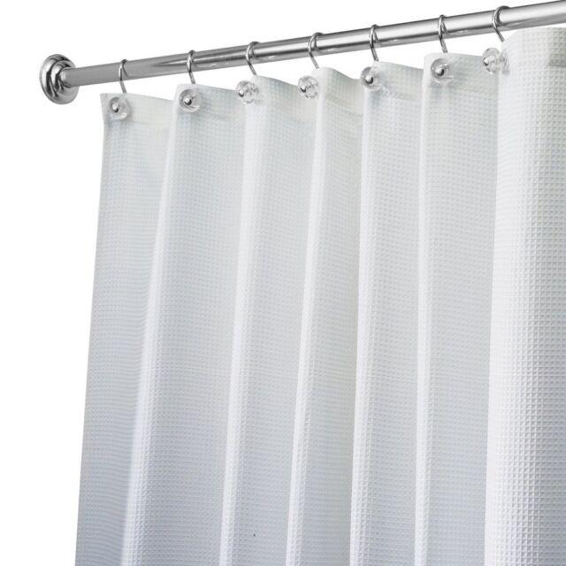 InterDesign Carlton Soft Fabric Shower Curtain Long 72 X 84 White ...