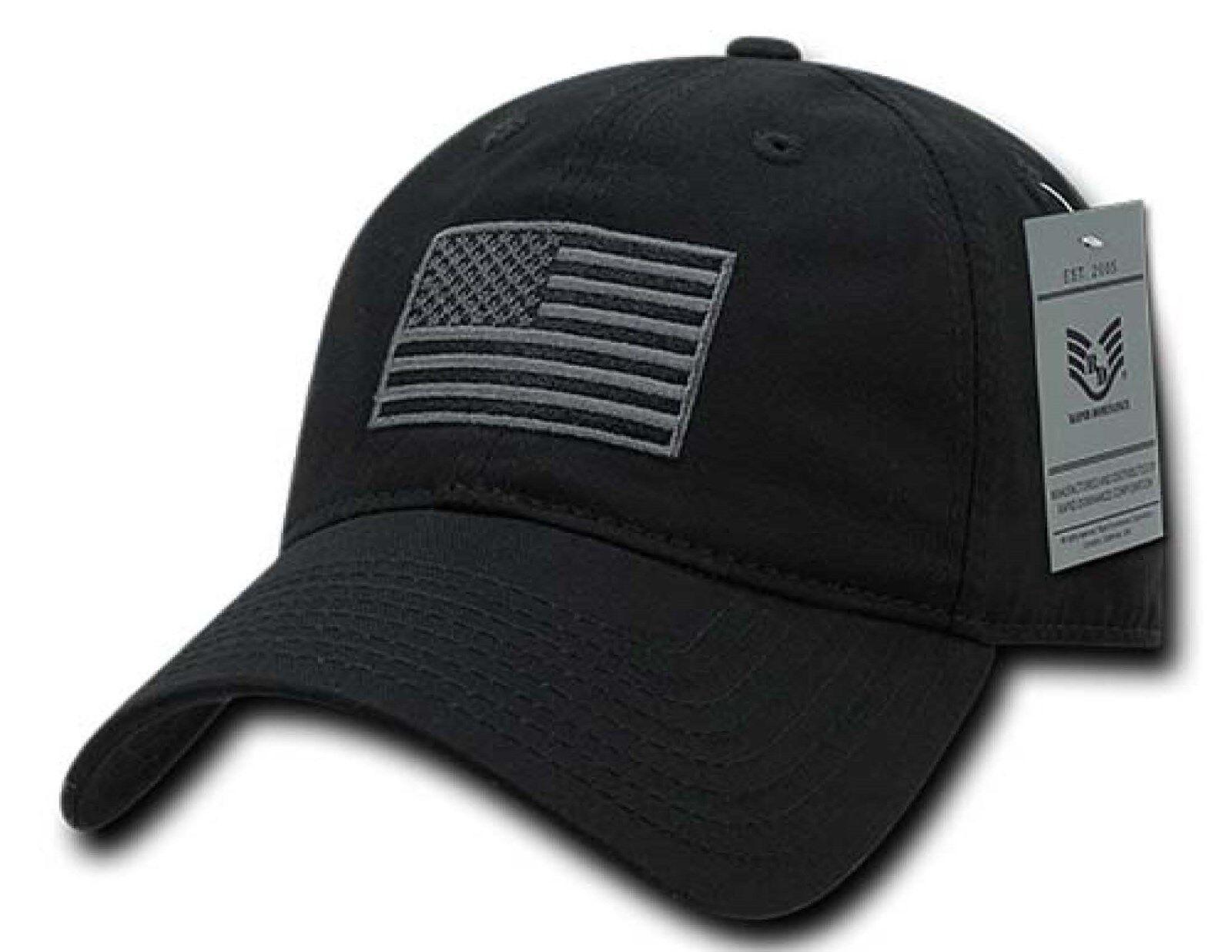 Black US American Flag Patch United States America Polo Tonal Baseball Hat  Cap ae0d3f0740e3