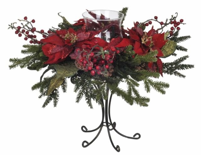 House of silk flowers artificial red poinsettiaberrypine single house of silk flowers artificial red poinsettiaberrypine single candle holder mightylinksfo