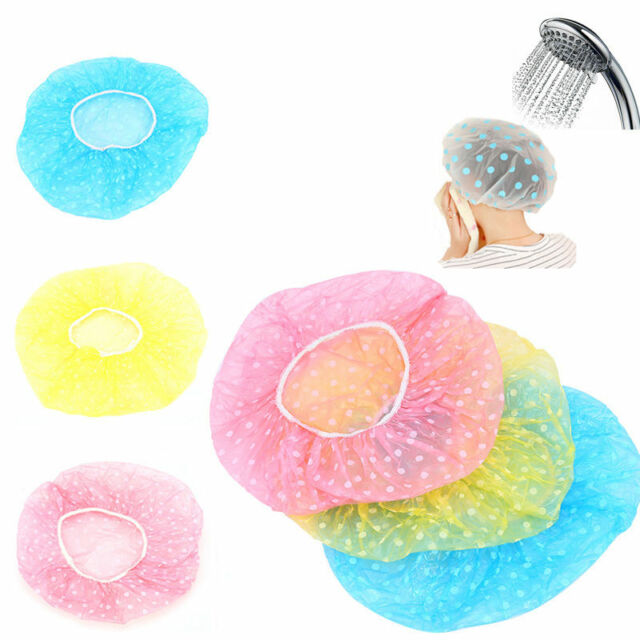 3Pcs Women Waterproof Elastic Plastic Dot Shower Bathing Salon Hair Care Cap Hat