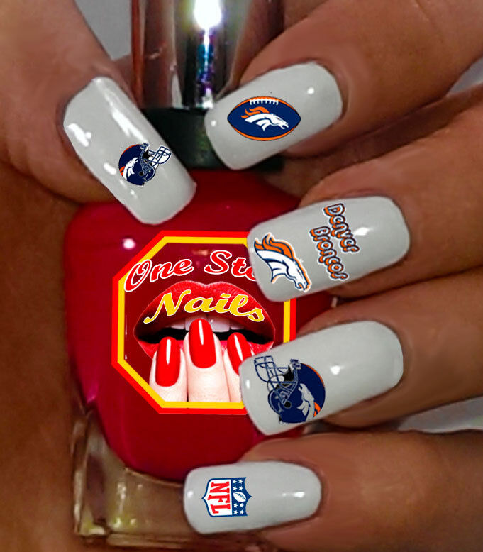 Set of 55 NFL Denver Broncos Nail Art Water Decals. Top Quality ...