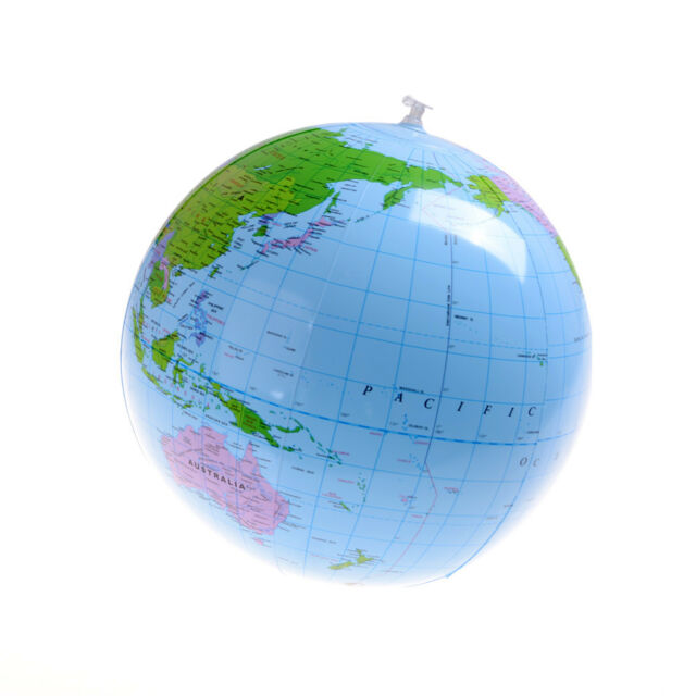 World Map Globe Ball. Inflatable Blow Up World Globe 16  Earth Atlas Ball Map Geography Toy HP up