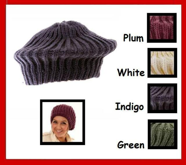 Adults Chunky Knit Beret 4 Colours (b88) Indigo  c84f2b0a4c5