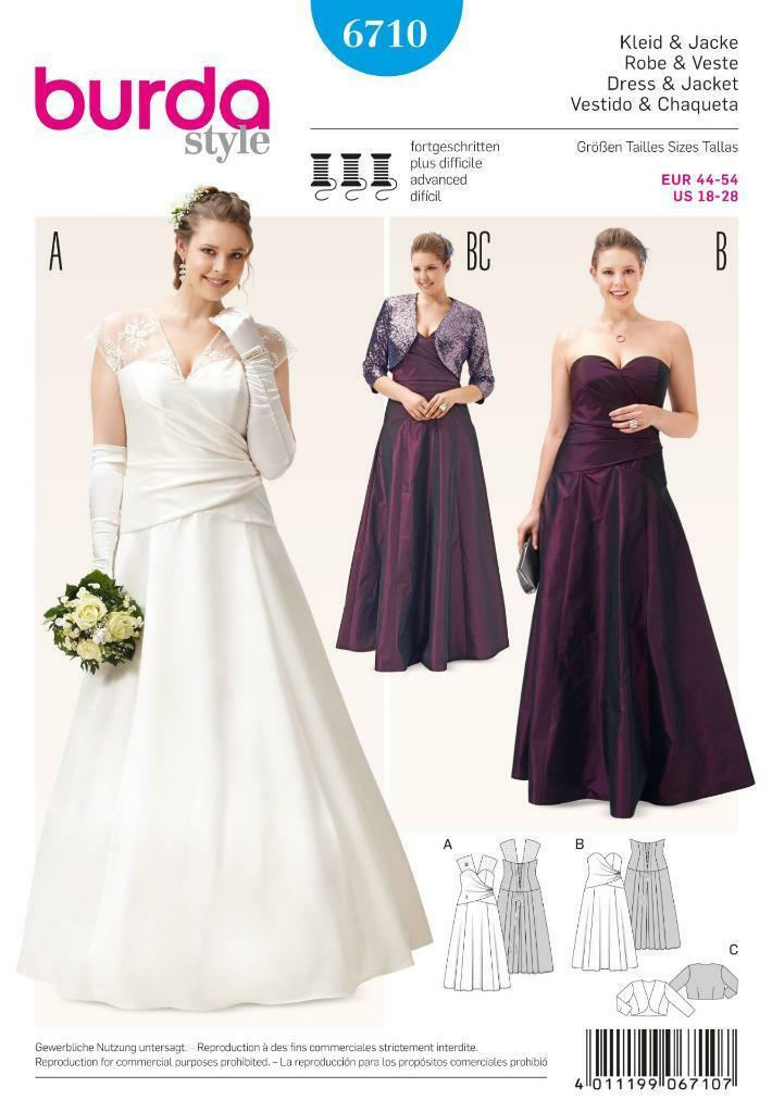 Burda Sewing Pattern Misses\' Wedding Gown Dress Plus Size 18 - 28 ...
