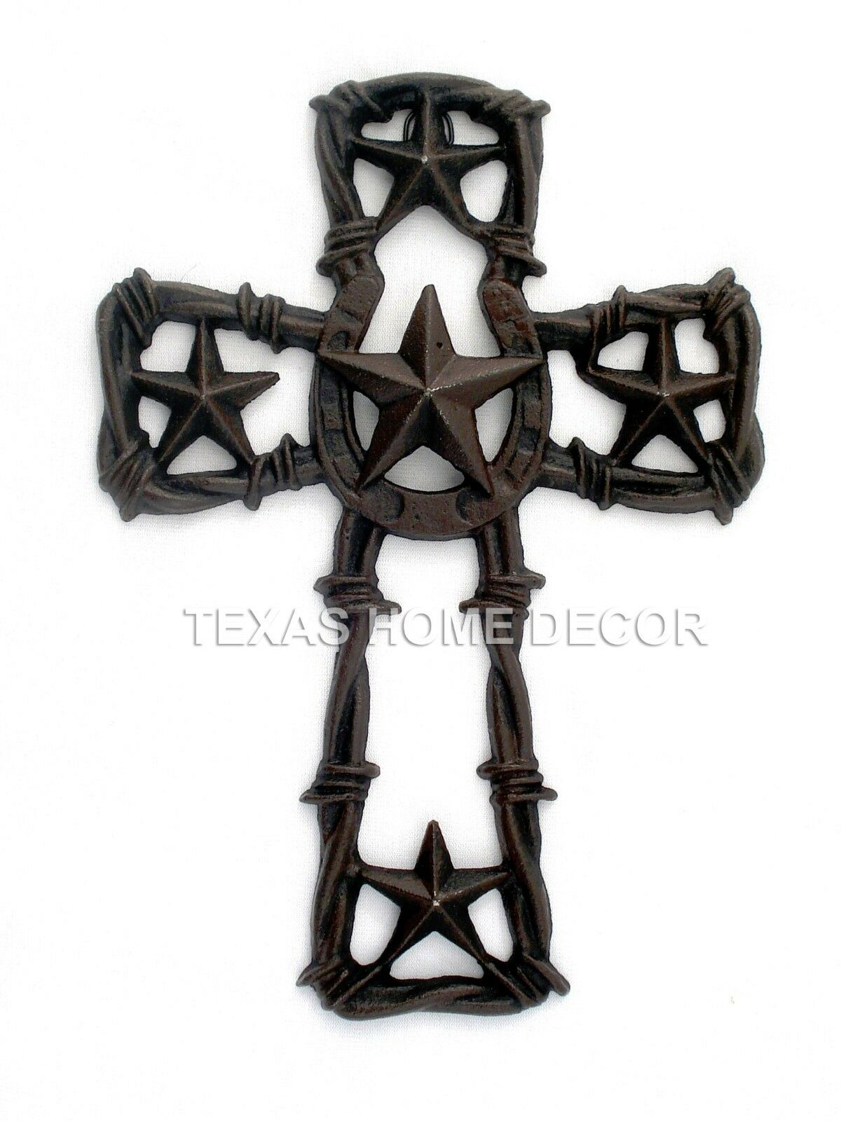 Western Texas Star Wall Cross Rustic Cast Iron Horseshoe Barbed Wire ...