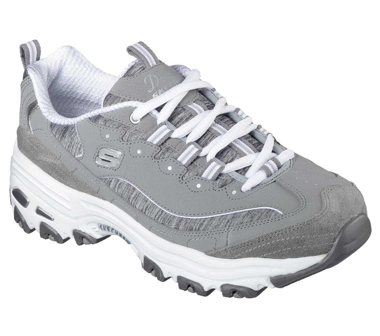Women Skechers ME TIME 11936GYW Grey Running Lace Up Athletic Sneaker Shoes