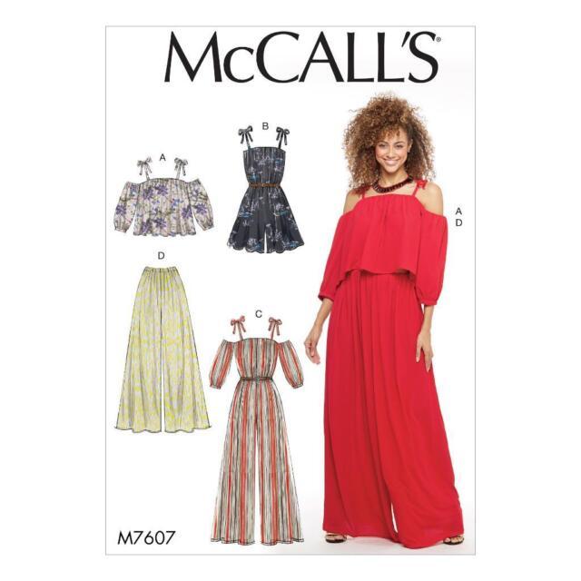 McCalls Pattern 7607 Jumpsuit Romper Top Pants Misses Sizes 14 16 18 ...