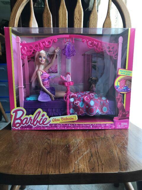 Mattel X7941 Barbie Glam Bedroom Furniture and Doll Set | eBay