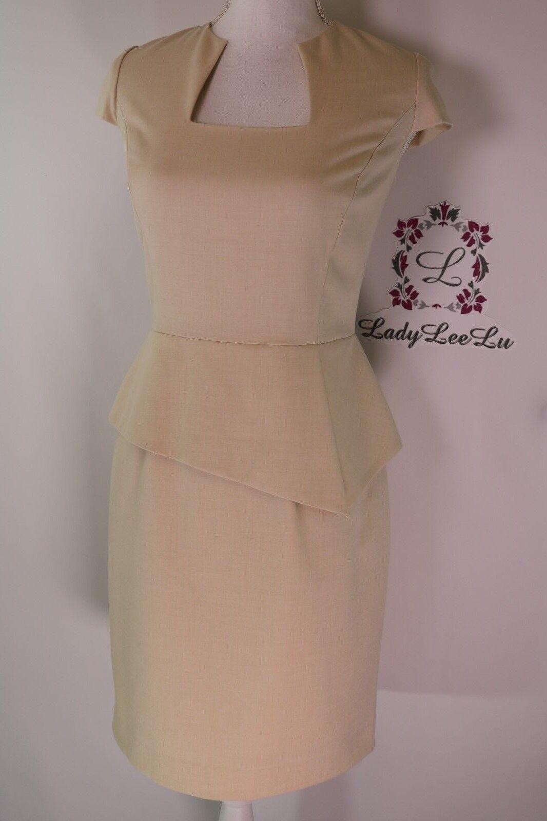 Antonio Melani Gwen Cap Sleeves Peplum Twill Dress Light Khaki Sz 0