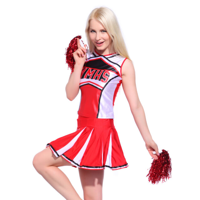 Glee Style High School Girl Cheerleader Cheerleading Costume Outfit w/ Pom Poms  sc 1 st  eBay & Glee Style High School Girl Cheerleader Cheerleading Costume Outfit ...