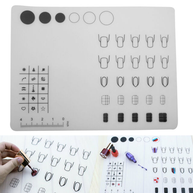 40x30cm Nail Art Soft Silicone Workspace Stamping Transfer Plate Mat ...