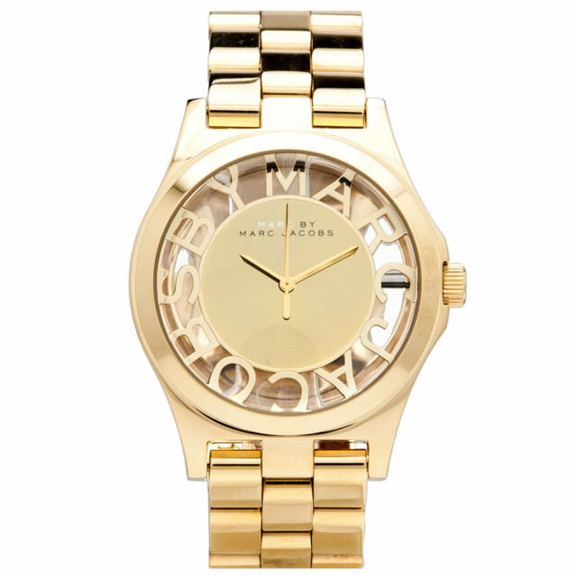 NEW MARC BY MARC JACOBS Henry Skeleton Gold Dial 40mm Steel Ladies Watch MBM3206