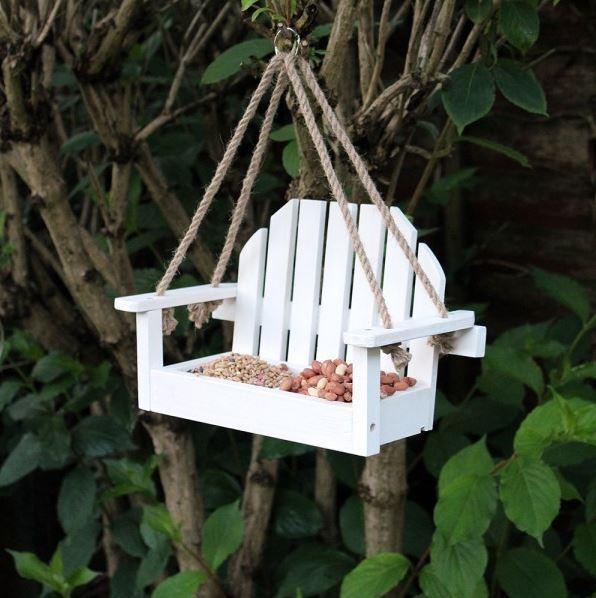 White Bench Shaped Hanging Garden Bird Feeder By