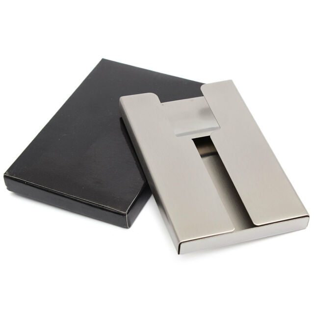 Stainless steel thumb slide out business name credit card holder new stainless steel thumb slide out business name credit card holder pocket case colourmoves Image collections