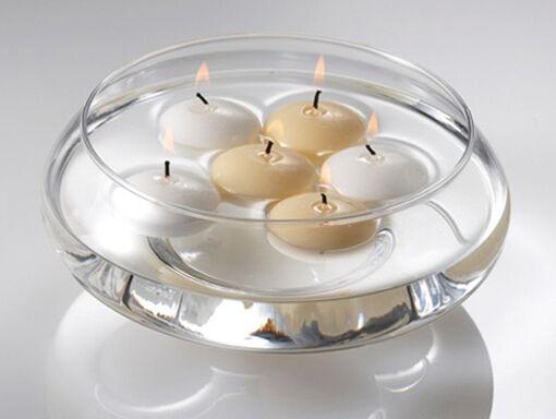 100 4cm White Floating Candle Room Table Centrepiece Pool Bath 4hr Burn Bulk