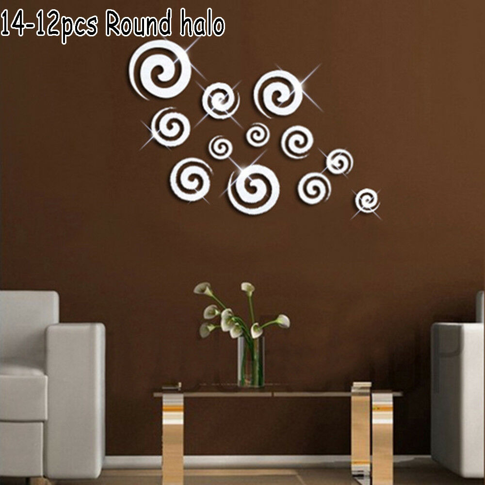3d Removable Acrylic Decal Art Mural Mirror Wall Stickers Diy Home
