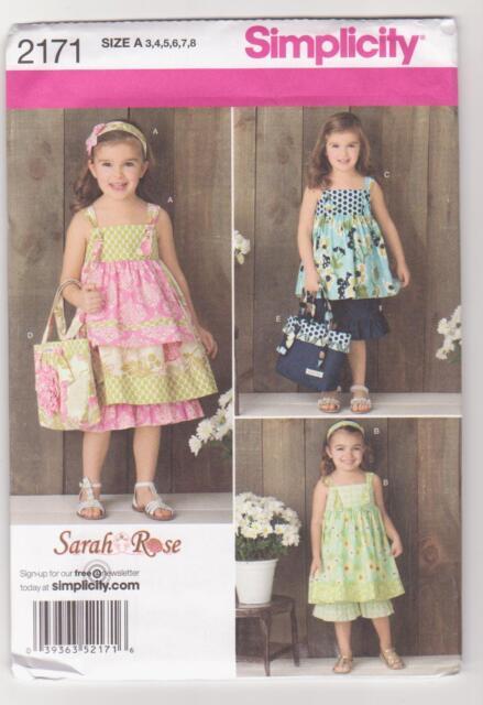 Simplicity Pattern 2171 Girl's Knot Dress, Top, Pants, Bag Hair Accessory Sz 3-8
