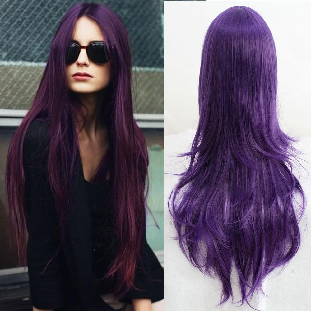 Harajuku purple long wavy curly weave hair parted bang anime picture 1 of 4 pmusecretfo Gallery