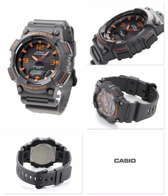 AQ-S810W-8A Black Orange Casio Men's Watch Tough Solar Analog Digital Resin New