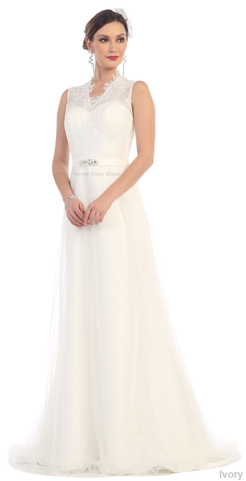 Evening Gown Long Formal Classy Lace Pageant Dresses White Event ...