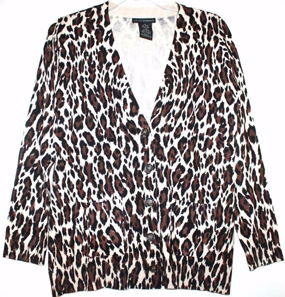 Womens Grace Elements Sweater BOYFRIEND Cardigan Animal Print ...