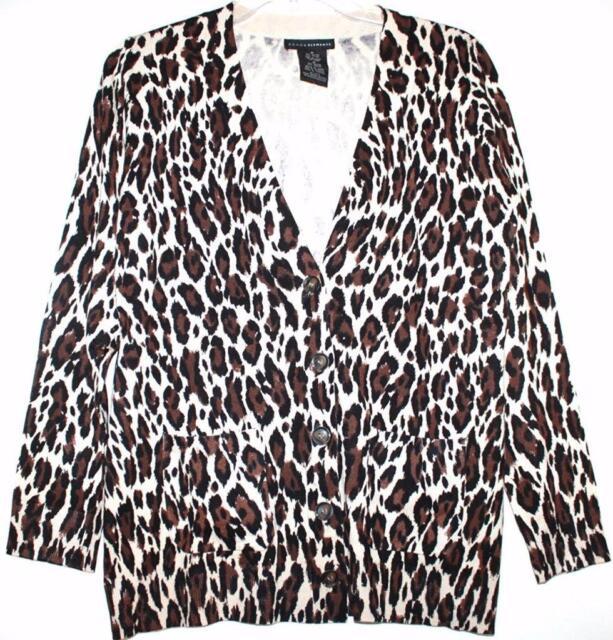 Grace Elements Womens Leopard Print BOYFRIEND Cardigan Sweater ...